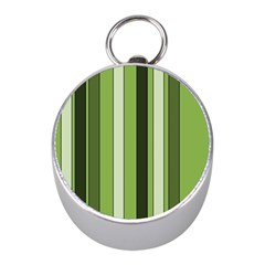 Greenery Stripes Pattern 8000 Vertical Stripe Shades Of Spring Green Color Mini Silver Compasses