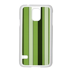 Greenery Stripes Pattern 8000 Vertical Stripe Shades Of Spring Green Color Samsung Galaxy S5 Case (White)