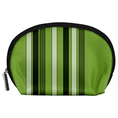 Greenery Stripes Pattern 8000 Vertical Stripe Shades Of Spring Green Color Accessory Pouches (Large)
