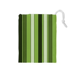 Greenery Stripes Pattern 8000 Vertical Stripe Shades Of Spring Green Color Drawstring Pouches (Medium)