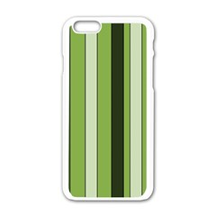 Greenery Stripes Pattern 8000 Vertical Stripe Shades Of Spring Green Color Apple iPhone 6/6S White Enamel Case