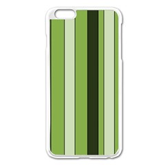 Greenery Stripes Pattern 8000 Vertical Stripe Shades Of Spring Green Color Apple iPhone 6 Plus/6S Plus Enamel White Case
