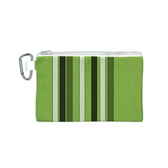 Greenery Stripes Pattern 8000 Vertical Stripe Shades Of Spring Green Color Canvas Cosmetic Bag (S)