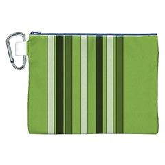 Greenery Stripes Pattern 8000 Vertical Stripe Shades Of Spring Green Color Canvas Cosmetic Bag (XXL)