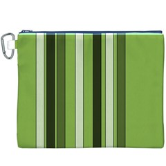 Greenery Stripes Pattern 8000 Vertical Stripe Shades Of Spring Green Color Canvas Cosmetic Bag (XXXL)