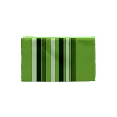 Greenery Stripes Pattern 8000 Vertical Stripe Shades Of Spring Green Color Cosmetic Bag (XS)