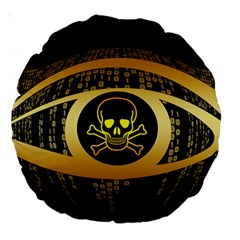 Virus Computer Encryption Trojan Large 18  Premium Round Cushions