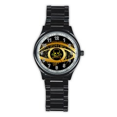Virus Computer Encryption Trojan Stainless Steel Round Watch