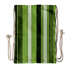 Greenery Stripes Pattern 8000 Vertical Stripe Shades Of Spring Green Color Drawstring Bag (Large)