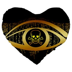 Virus Computer Encryption Trojan Large 19  Premium Flano Heart Shape Cushions
