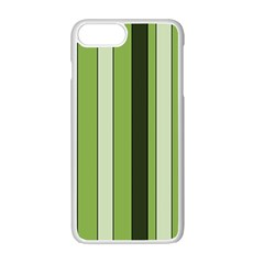 Greenery Stripes Pattern 8000 Vertical Stripe Shades Of Spring Green Color Apple iPhone 7 Plus White Seamless Case
