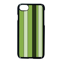 Greenery Stripes Pattern 8000 Vertical Stripe Shades Of Spring Green Color Apple Iphone 7 Seamless Case (black)