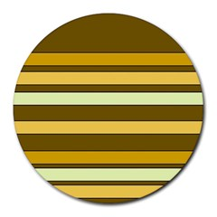Elegant Shades of Primrose Yellow Brown Orange Stripes Pattern Round Mousepads
