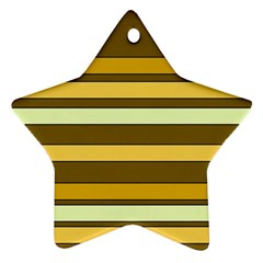 Elegant Shades of Primrose Yellow Brown Orange Stripes Pattern Ornament (Star)