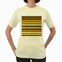 Elegant Shades of Primrose Yellow Brown Orange Stripes Pattern Women s Yellow T-Shirt