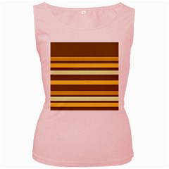 Elegant Shades of Primrose Yellow Brown Orange Stripes Pattern Women s Pink Tank Top