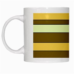 Elegant Shades of Primrose Yellow Brown Orange Stripes Pattern White Mugs