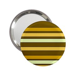 Elegant Shades of Primrose Yellow Brown Orange Stripes Pattern 2.25  Handbag Mirrors