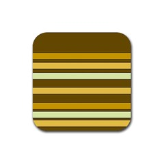 Elegant Shades of Primrose Yellow Brown Orange Stripes Pattern Rubber Square Coaster (4 pack)