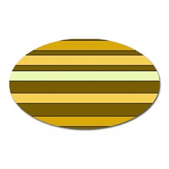 Elegant Shades of Primrose Yellow Brown Orange Stripes Pattern Oval Magnet