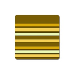 Elegant Shades of Primrose Yellow Brown Orange Stripes Pattern Square Magnet