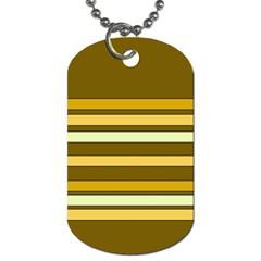 Elegant Shades of Primrose Yellow Brown Orange Stripes Pattern Dog Tag (Two Sides)