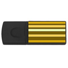 Elegant Shades of Primrose Yellow Brown Orange Stripes Pattern USB Flash Drive Rectangular (1 GB)