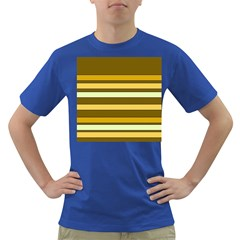 Elegant Shades of Primrose Yellow Brown Orange Stripes Pattern Dark T-Shirt
