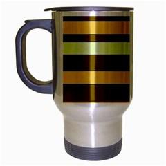 Elegant Shades of Primrose Yellow Brown Orange Stripes Pattern Travel Mug (Silver Gray)