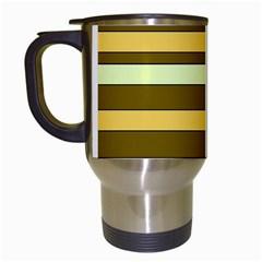 Elegant Shades of Primrose Yellow Brown Orange Stripes Pattern Travel Mugs (White)