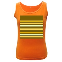 Elegant Shades of Primrose Yellow Brown Orange Stripes Pattern Women s Dark Tank Top