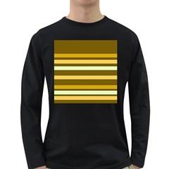 Elegant Shades of Primrose Yellow Brown Orange Stripes Pattern Long Sleeve Dark T-Shirts