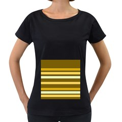 Elegant Shades of Primrose Yellow Brown Orange Stripes Pattern Women s Loose-Fit T-Shirt (Black)