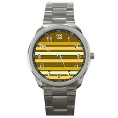Elegant Shades of Primrose Yellow Brown Orange Stripes Pattern Sport Metal Watch