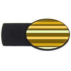 Elegant Shades of Primrose Yellow Brown Orange Stripes Pattern USB Flash Drive Oval (4 GB)