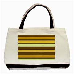 Elegant Shades of Primrose Yellow Brown Orange Stripes Pattern Basic Tote Bag