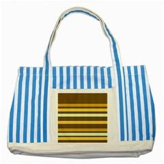 Elegant Shades of Primrose Yellow Brown Orange Stripes Pattern Striped Blue Tote Bag