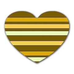 Elegant Shades of Primrose Yellow Brown Orange Stripes Pattern Heart Mousepads