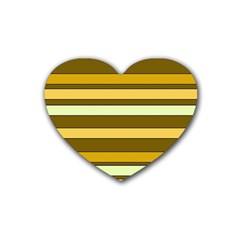Elegant Shades of Primrose Yellow Brown Orange Stripes Pattern Heart Coaster (4 pack)