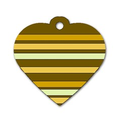 Elegant Shades of Primrose Yellow Brown Orange Stripes Pattern Dog Tag Heart (Two Sides)