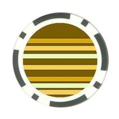 Elegant Shades of Primrose Yellow Brown Orange Stripes Pattern Poker Chip Card Guards