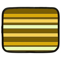 Elegant Shades of Primrose Yellow Brown Orange Stripes Pattern Netbook Case (Large)