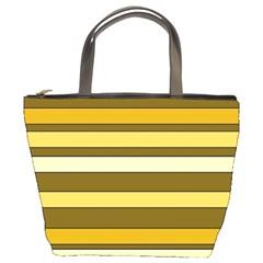 Elegant Shades of Primrose Yellow Brown Orange Stripes Pattern Bucket Bags