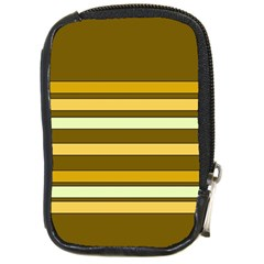 Elegant Shades of Primrose Yellow Brown Orange Stripes Pattern Compact Camera Cases