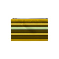 Elegant Shades of Primrose Yellow Brown Orange Stripes Pattern Cosmetic Bag (Small)