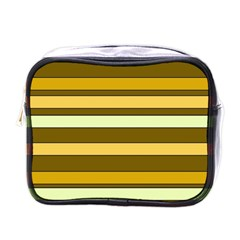 Elegant Shades of Primrose Yellow Brown Orange Stripes Pattern Mini Toiletries Bags
