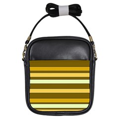 Elegant Shades of Primrose Yellow Brown Orange Stripes Pattern Girls Sling Bags