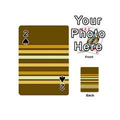 Elegant Shades of Primrose Yellow Brown Orange Stripes Pattern Playing Cards 54 (Mini)