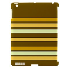 Elegant Shades of Primrose Yellow Brown Orange Stripes Pattern Apple iPad 3/4 Hardshell Case (Compatible with Smart Cover)
