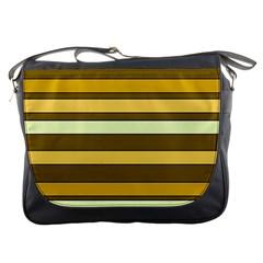 Elegant Shades of Primrose Yellow Brown Orange Stripes Pattern Messenger Bags